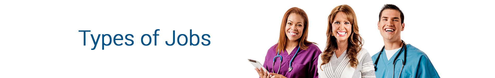 Healthcare - Types of Jobs page banner